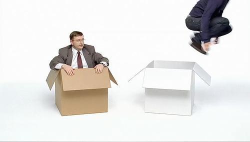 salir de la caja